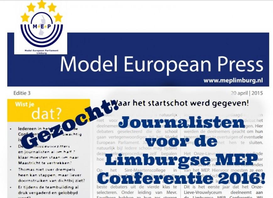Journalisten gezocht voor de Limburgse MEP Conferentie 2016!